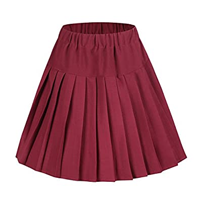 EXCHIC Women High-Waisted Pleated Mini Skirts Solid Dance Dress
