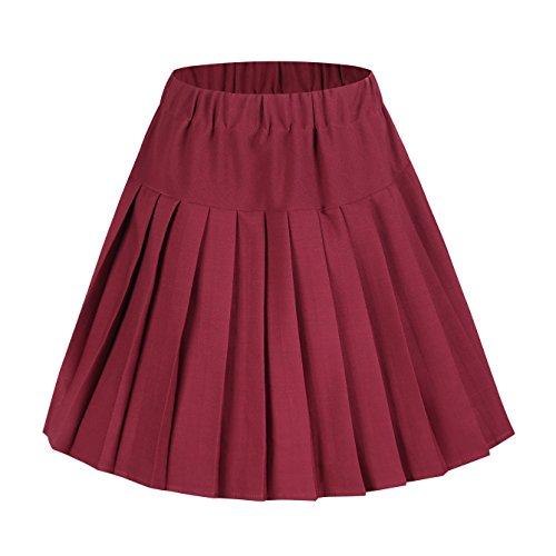 vase Jupe Femmes de Rouge GoCo lastique de Minijupe Ceinture Uniforme Urban de Scolaire Tennis Plisse 8nw5ZZqgY