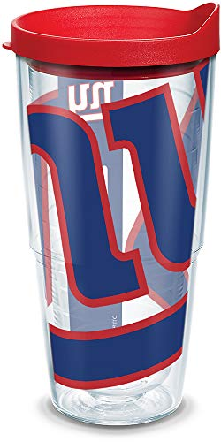 Tervis 1085229 NFL New York Giants Colossal Tumbler with Wrap and Red Lid 24oz, Clear