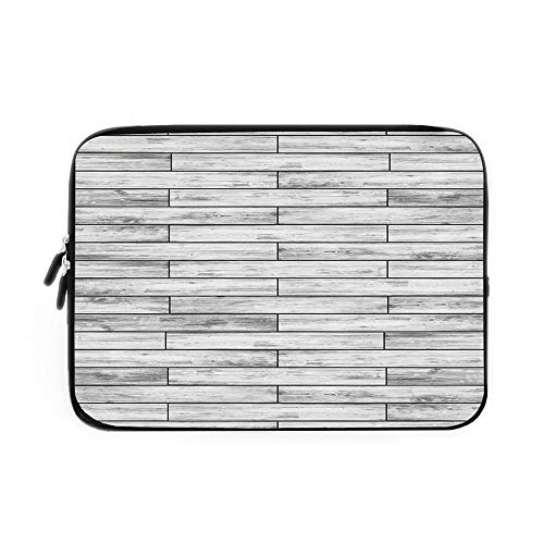 Clock Striped Wood (Taupe Laptop Sleeve Bag,Neoprene Sleeve Case/Picture of a Parquet Grey Wood Texture Rusty Retro Antique Aged Display Striped Tile/for Apple MacBook Air Samsung Google Acer HP DELL Lenovo Asus)