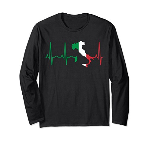 Unisex Italy Long Sleeve Shirt - Italian Heartbeat Flag Gift Large Black
