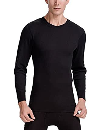 CYZ Men's Thermal Long Sleeve Crew Top-Black-S
