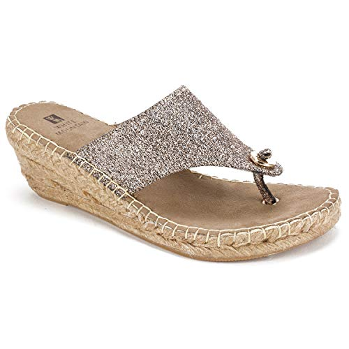(WHITE MOUNTAIN Shoes Beachball Women's Sandal, ANT Gold/Glitter/FAB, 6 M)