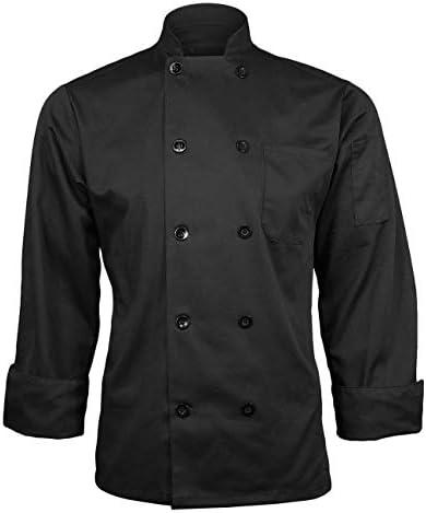ChefsCloset Lightweight Poplin Unisex Long Sleeve Button Black Chef Jacket XS Chef Coat