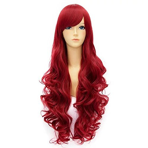 80cm Long Curly Red Anime Cosplay Synthetic Wig+Cap ()