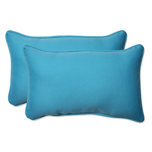 Pillow Perfect Outdoor Veranda Turquoise Rectangular Throw Pillow, Set of 2 (Rectangular Pillows Outdoor)