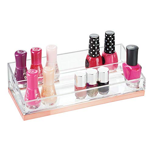 mDesign Plastic 2-Tier Cosmetic Organizer with Compartments for Bathroom Vanity, Countertop or Cabinet to Hold Nail Polish, Makeup, Moisturizer, Lipstick, Beauty Accessories - Clear/Rose Gold