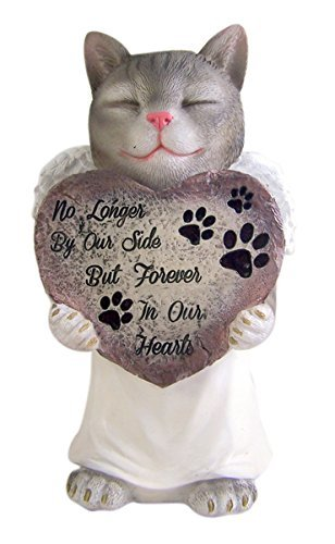 Resin Pet Cat With Angel Wings Memorial Garden Statue 10.75 Inch
