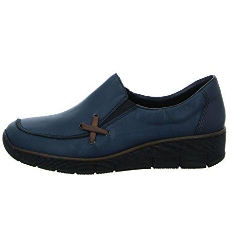 Rieker Women's 53783 Loafers, Blue (Blue), 4 UK Blue