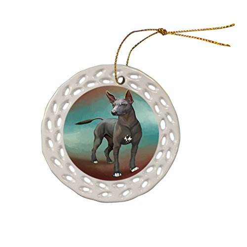 Mexican Hairless Dog Dog Christmas Doily Ceramic Ornament by Doggie of the Day