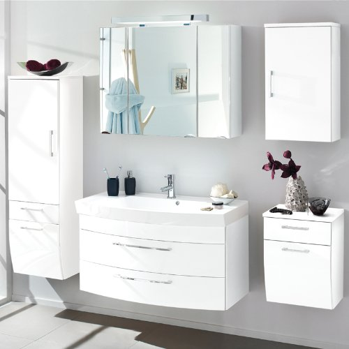 Komplett Badezimmer Set Hochglanz weiß Spiegelschrank Badmöbel ...