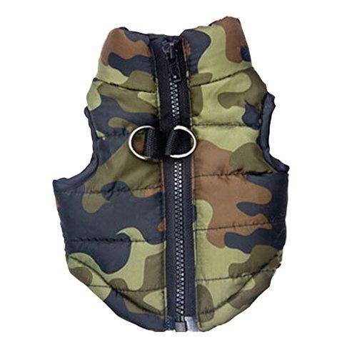 Shu-pets, Pet Clothes, Camouflage Pet Jacket Dog Clothes Vest Coat Harness (Size : S:Back28cm Chest44cm Neck26cm)