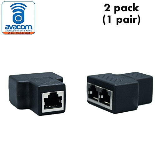 AVACOM RJ45 Splitter Adapter, Female Socket Interface, Ethernet Cable 8P8C Coupler, Keystone Jack, Extender Plug, LAN Network Connector for Cat5, Cat5e, Cat6, Cat7 (2 Pack, 1 pair) by AVACOM