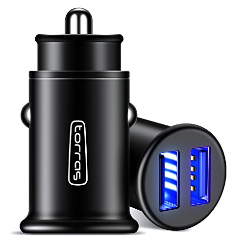 TORRAS Metal USB Car Charger, Flush Fit Dual Port 4.8A Smart Fast Charge Power Adapter Cell Phone Car Charger for iPhone X / 8 / 7 / 6, iPad, Samsung Galaxy, LG, HTC and More(1-Pack) - (Fast Auto)