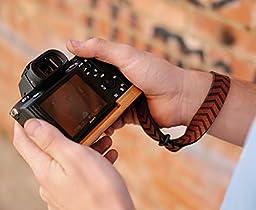 J.B. Camera Designs Premium Leather SIMPLE STRAP Camera Wrist Strap - Made in the USA (Orange Brown CHEVRON)