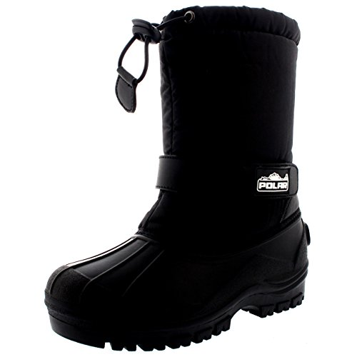 Unisex Kids Pull On Drawstring Closure Nylon Winter Snow Rain Boots - 1 - BLK33 YC0154