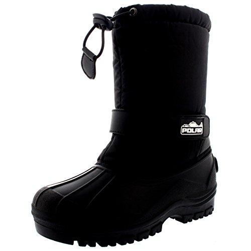Unisex Kids Pull On Drawstring Closure Nylon Winter Snow Rain Boots - 12 - BLK30 (Nylon Snow Boots)