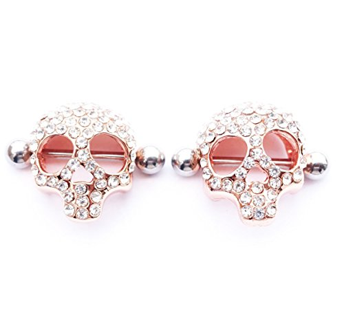 Pair Nipple Rings Shields - WOWOHE 3d Skull Nipple Rings Shields Body Piercing Sold As a Pair (Rosy gold color)