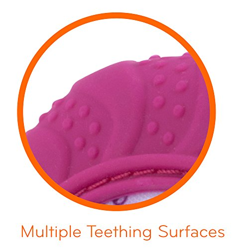 41JPCo2ZvyL - Nuby  Soothing Teething Mitten with Hygienic Travel Bag, Pink