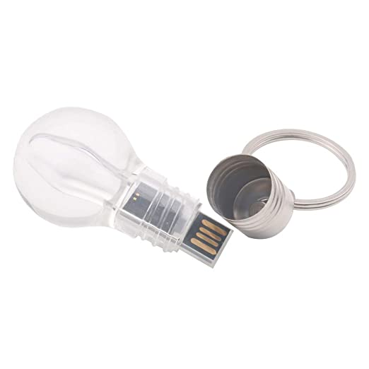 Scrox 1X USB 2.0 Llavero Anillo Flash Drive Creativo Bombilla U Disk Flash Memory Stick Transparente Propósito General Memoria USB Size 32GB