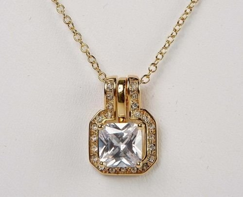 Cushion Cut Pave Pendant Necklace By ()