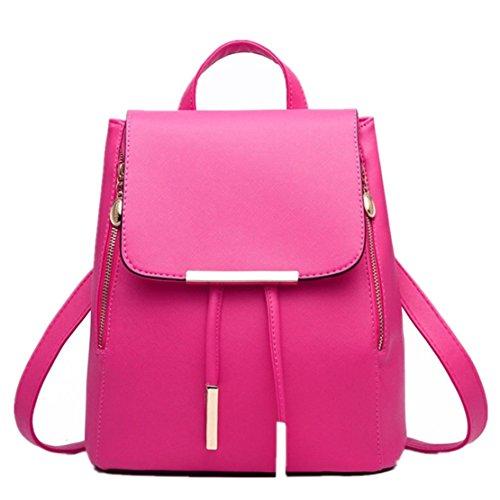 Clode® Bolso de las mujeres chicas señoras mochila moda bandolera mochila PU cuero viajes Color de rosa caliente
