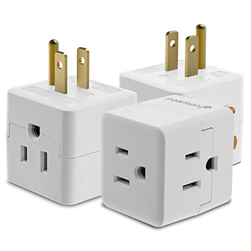 (3 Outlet Wall Adapter Tap (3 Pack), Fosmon 3-Prong Portable Travel Mini Plug Grounded Indoor AC Outlet, ETL Listed -)