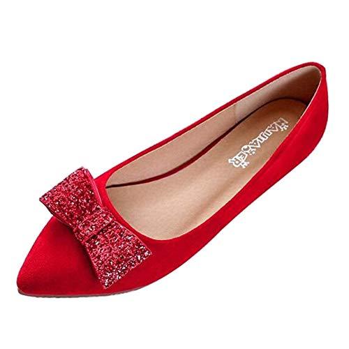 color Con Bowknot En Mujer Para Punta Ballet Uk Rojo Planas Hhgold 3 Bailarinas Rojo Tamaño HqTFz