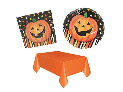 Halloween Jack OLantern Pumpkin Party Pack Tableware Set,3 Piece Bundle with Dinner Plates, Napkins, Tablecloth, Serves 8