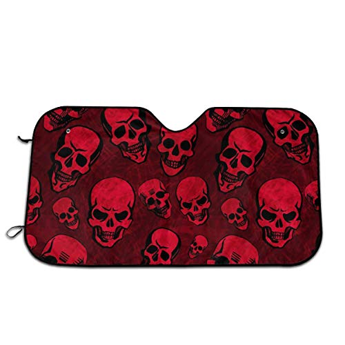 Red Blood Skull Auto Windshield Sun Shade Car Front Window Sunshade-UV Protection Double Bubble Foil Jumbo Foldable Sunshade for Car Prevent Your Car from Sun Heat & Glare Keep Vehicle ()