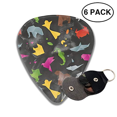 Animals Origami Pattern 3D Color Printed Guitar and Bass Pick Gift Brass