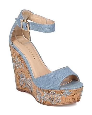 Liliana Women Peep Toe Faux Cork Embroidered Floral Platform Wedge Sandal Ozzy-2(Denim 7) - Cork Platform Sandals