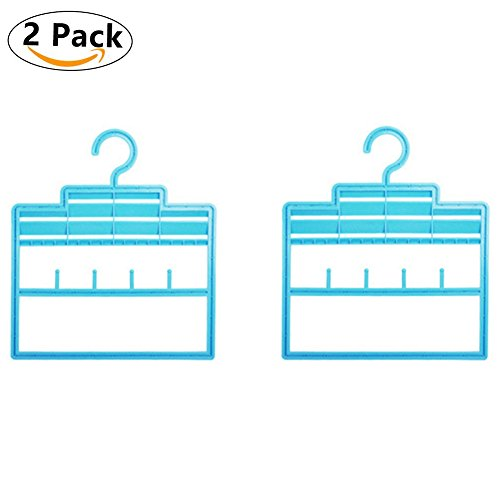 "Hakuno Kokoro Premium Quality Belt Rack Creative Scarf Holder Tie Hangers Multi-Purpose Non Slip Closet Organizer 2 Pack Blue One Size(12.2"" x 14.0"")"