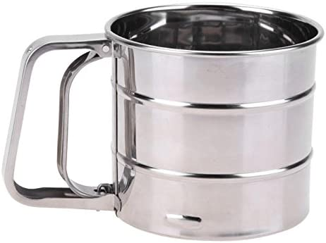 Manual Baking Mesh Flour Icing Sugar Stainless Steel Sifter Sieve Cup Shaker