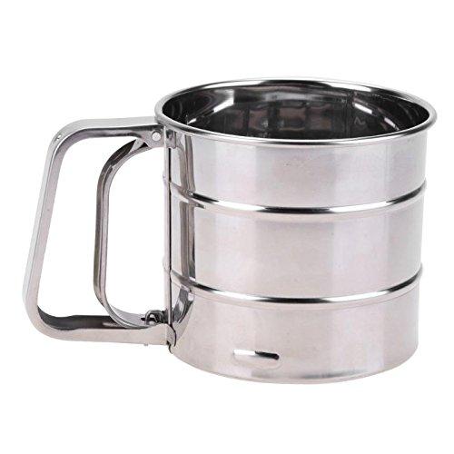 KathShop Handheld Flour Shaker Stainless Steel Mesh Sieve Cup Icing Sugar Bake Tool Hand-Pressed Hand-Pressed Bakeware Sifters by KathShop