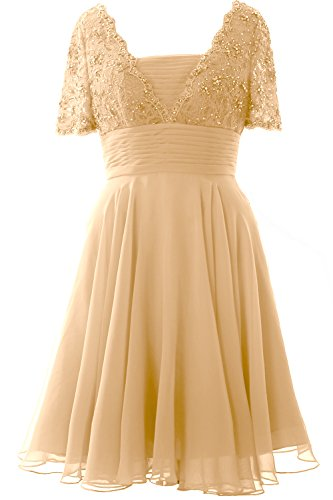MACloth Women Short Sleeve Mother of the Bride Dress Lace Cocktail Formal Gown Champagne