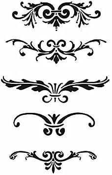 A5 size 148 x 210 mm 5.8 x 8.3 in Pochoir repositionnable Mylar Lot de pochoirs baroques r/éutilisables A3 A4 A5 Ornement Craft // B10