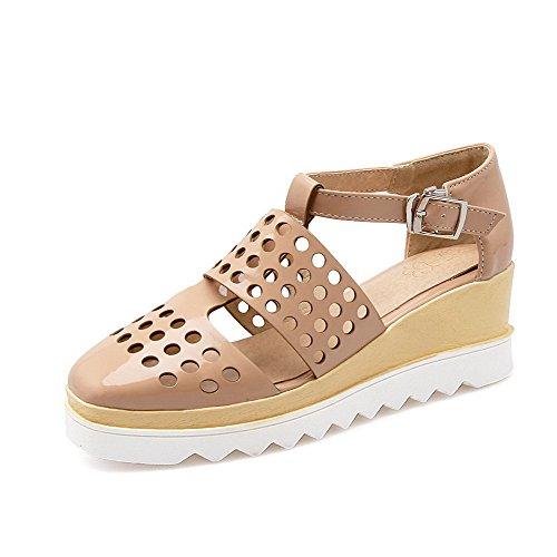 Amoonyfashion Dame Kitten-hæler Fast Spenne Mykt Materiale Lukket Tå Kiler-sandaler Aprikos