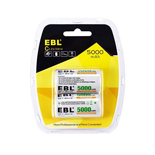EBL 2PCS Piles C Rechargeables 5000mAh Ni-MH 1.2V, Type C Baby C LR14 Piles Rechargeables 1200 Cycles,dans Nouvel Emballage
