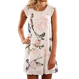 YOINS Women Sleeveless Short Casual Dress Summer Lace Mini Dress Solid Swing T-Shirt Dress