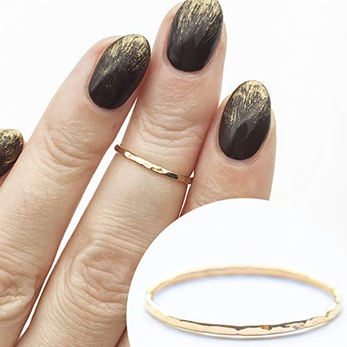 1 Single Gold Stacking Ring, Handmade Dainty Little Plain Band, Size 3