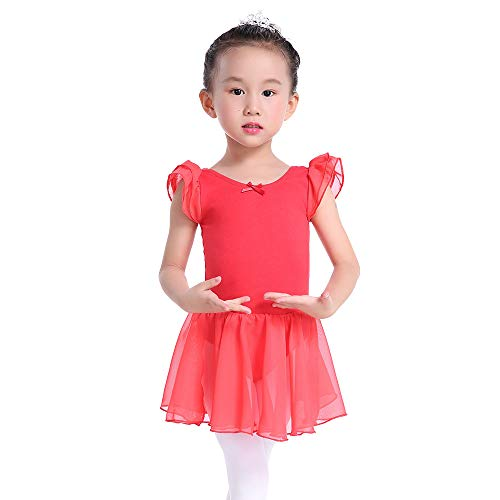 Flutter Sleeves Ballet Leotard Skirted Dance Dress for Girls and Toddlers (4, Red)