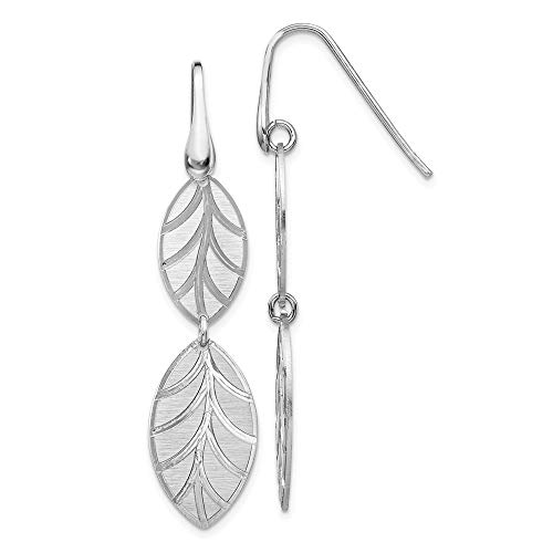 Leslie's Sterling Silver Rhod-plate Brushed/Polished Leaf Dangle Earrings QG001-QLE1260