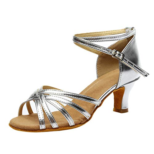 Women's Color Fashion Rumba Waltz Prom Ballroom Professional Latin Salsa Dance Shoes Sandals Wedding Dancing Shoes (Guess Leather Sandals Patent)