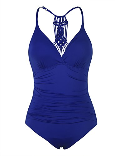 Firpearl Women's Halter One Piece Swimsuits Braid Macrame Ruched Tummy Control Swimwear RoyalBlue US10