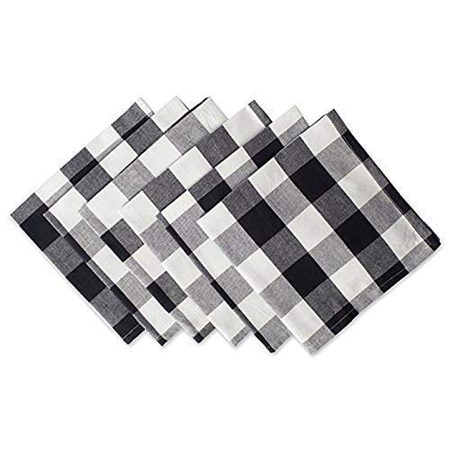 Blue Pinnacle Supply Plaid Folding Napkin for Everyday Place Settings Decoration Country House Style Décor Black & White Gingham Checker (Oversized) (20x20 Size) (Set of 6) ()