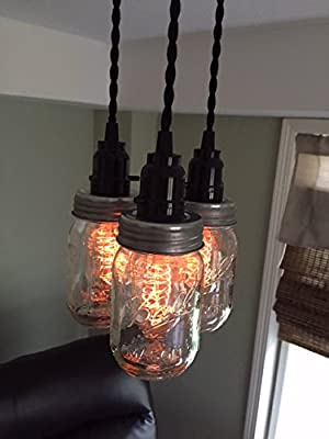 "Ball Jar Chandelier Light with 20"" Hang Down - Hand Built in the USA by Industrial Rewind - Sold by Half Price Retail"