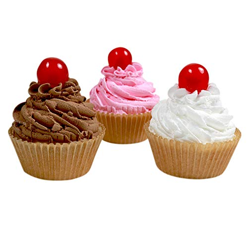 3 Fake Cupcakes - Vanilla, Chocolate and Strawberry Cupcakes with Maraschino Cherry on Top