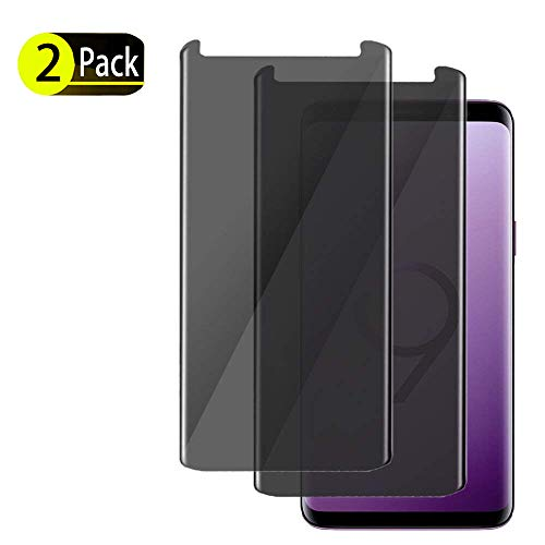 [2-Pack] SunCable Samsung Galaxy S9 Plus S9+ Privacy Tempered Glass Screen Protector[Anti Privacy] [Anti-Scratch/ Anti-Bubble] 3D Curved Privacy Tempered Glass for Samsung Galaxy S9 Plus (2Pack)