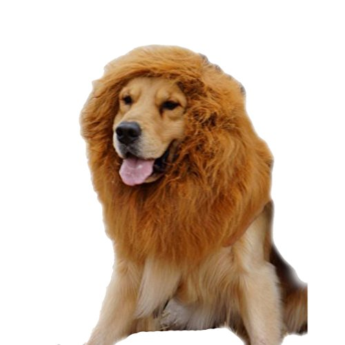 Emours Dog Lion Wig Mane Hair Cute Adorable Lion Costume Halloween Festival Party Fancy Dress Clothes Costume For Large Dogs Brown by Emours (Image #1)